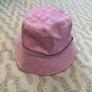 Authentic Coach monotone pink signature bucket hat